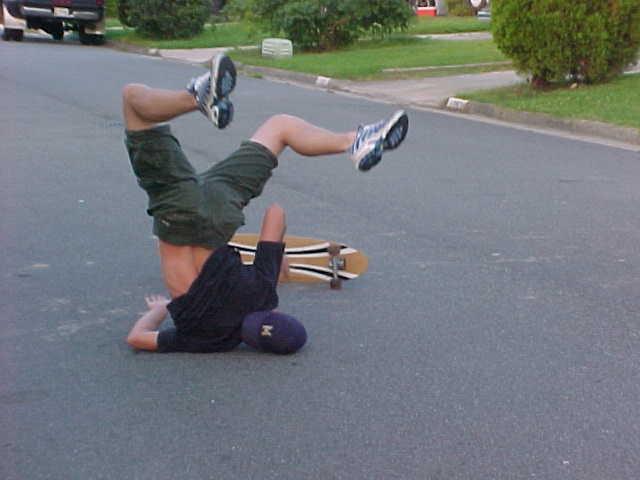 Falling longboard guy